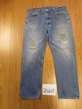 levi 501 feathered destroyed grunge jean tag 42x34 Meas 38x30.5 20662F
