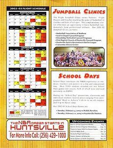 Huntsville Flight--2002-03 Sheet Schedule--NBDL