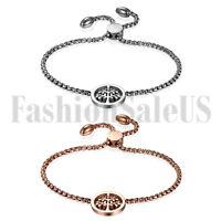 Stainless Steel Women's Ladies Freely Adjustable Tree of Life Chain Bracelet New