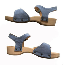 STEVEN ALAN X DR. SCHOLL'S  Chambray Wooden Ankle Strap Sandals 38 LTD EDITION