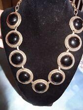 Vintage R C Z Gold Tone Metal Necklace W/Black Glass Cabochons  # 692