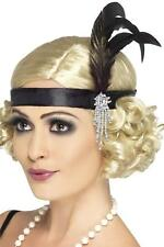 Smiffys Black Silver Beads Feather Headband Flapper Charleston 1920s Fancy Dress