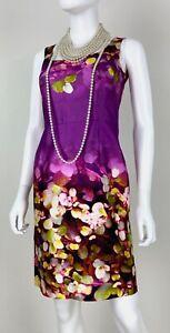 Oscar de la Renta 2 US 38 IT XS Purple Floral Silk Cocktail Dress Runway Auth