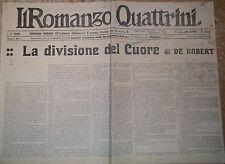 LA DIVISIONE DEL CUORE di De Robert 22/09/1921 il romanzo Quattrini Serie A 494