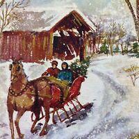 Vintage Mid Century Christmas Greeting Card Hallmark Glitter Snowy Sleigh Ride