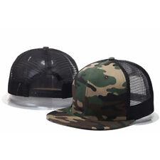 Baseball Cap Trucker Adjustable Snapback Flat Hip Hop Hat Plain Mesh Solid Men's