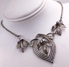 """Floral Leaf Drop Necklace 16"""" Vintage Sterling Silver Van Dell"""