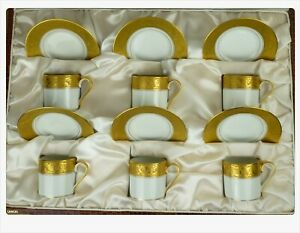 Amazing set of 6 coffee cups Limoges French porcelain China Gold guilted Agate