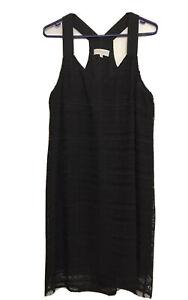 Veronika Maine Black Lace Pattern A Line Dress Razor Back Size 14 Lined