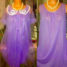 Vintage Sheer Chiffon Victorian Puff Violet Gown Robe Peignoir Lace Set S M L