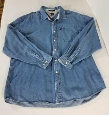 VTG Tommy Hilfiger Jeans LS Button Down Denim Shirt Box Flag Logo Men 2X Blue