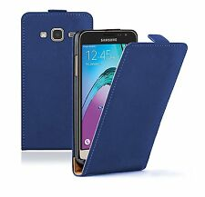 SLIM BLUE Leather Flip Case Cover Pouch For Mobile Phone Samsung Galaxy J3 2016