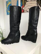 Bottes compensées O.X.S Italy 38 39 cuir noir 199 EUR wedge boots 4.5 5