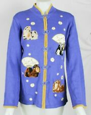 Storybook Knits Limited Edition Lhasa Apso Dog Cardigan Zip Sweater Medium Nwt