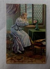 AK  Prägekarte mit Spruch junge Frau sitzt am Fenster gel. 1912