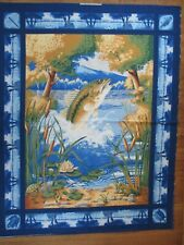 "Vintage ""Tournament at Beaver Creek"" Fish Frogs Turtles Fabric Panel 34 x 44""W"