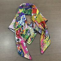 Luxury Scarf Fashion Animal Town Print 100% Twill Silk Bandana Big Kerchief 90cm