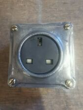 More details for vintage industrial style cast metal single power socket - bsen approved