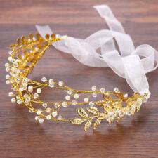 Wedding Handmade Pearls Tiaras Bridel Crown Golden Leaves Headband Headpieces