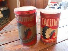 ** Vintage Calumet Double Acting Baking Powder Tins Cans Canisters **