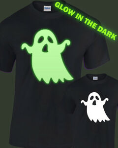 Spooky Ghost Glow in the Dark T-Shirt kids childrens glowing halloween fancy
