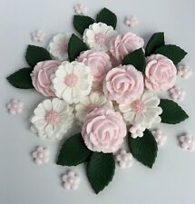 Baby Pink & White Rose Nozze Fiori Decorazioni per Torta Torta Commestibile Topper