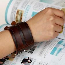 Buckle Wide Cuff Wristband Unisex Women Bracelet Men Pu Leather