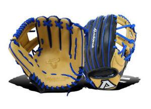 Akadema AEH302 Pro Soft Elite Baseball Softball Glove RHT Black/Blue/Beige