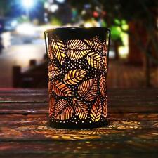 Solar Power Bronze Table Lantern Leaf Design Patio Outdoor Decor Light Lamp