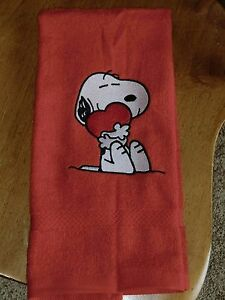 Embroidered Terry Hand Towel - Valentine - Snoopy W/Heart
