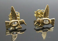 9ct yellow gold cubic zirconia flying bird stud earrings with butterfly backs