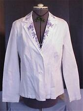 White Stretch Twill Jacket w Blue Embroidered Roses Med