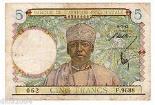 AFRIQUE OCCIDENTALE /  FRENCH WEST AFRICA AOF Billet 5 FRANCS  ( 1934 - 1942 )