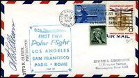 USA 1957 francobolli di PA su busta 1° volo polare TWA  (m930)