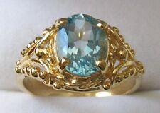 GENUINE 9K 9ct SOLID Gold 9X7 mm LARGE NATURAL BLUE TOPAZ DRESS Ring