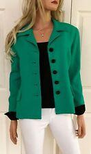 CHRISTIAN DIOR Worsted Wool Button Blazer Jacket Emerald Green Size 12