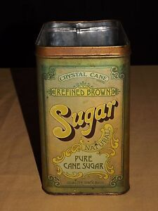 VINTAGE CRYSTAL CANE REFINED BROWN PURE CANE SUGAR  TIN CAN