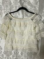 Express Off The Shoulder Smocked Eyelet Lace Bell Sleeve Top White Small