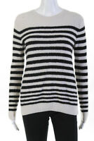 Vince Womens Long Sleeve Scoop Neck Striped Sweater Beige Black Size Small
