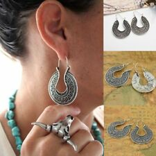 Dangle Vintage Tibetan U-shaped Silver Round Ethnic Earrings Hoop Tribal