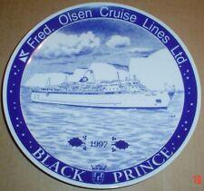 Porsgrund Plate FRED OLSEN CRUISE LINES LTD BLACK PRINCE CHRISTMAS 1997