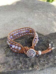 Natural Chevron Amethyst Leather Beaded Wrap Bracelet Cuff Bracelet USA NEW