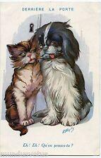 A. WUYTS. CHIEN. CHAT. DERRIèRE LA PORTE. CAT. DOG