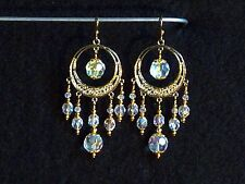 Earrings - Austrian Clear AB Crystal / Gold Plated Surgical Steel - chandeliers