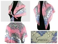 Gucci Silk Scarf Pink Gray blue  White French  Botanical Floral Large sz