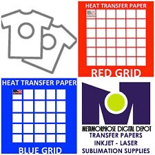 "InkJet T Shirt HEAT TRANSFER PAPER Combo 10 Sh Each  Dark & Red Grid 8.5x11"""