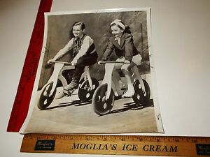 Rare Historical Original VTG Young Boy and Girl Children on Bicycle Photo