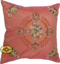 meat with Hand Ribbon & Beads Embroidered Floral Satin Cushion Cover/Pillow case