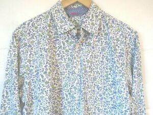 """Boden blue & green floral print shirt L/42""""-44""""chest"""
