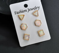 6PCS/set Fashion Luxury Women Ear Studs Party Jewelry opal Earring  Wholesale